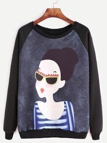 Black Raglan Sleeve Girl Print Sweatshirt