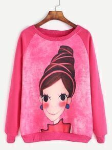 Dark Peach Raglan Sleeve Girl Print Sweatshirt