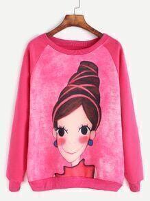 Dark Peach Raglan Sleeve Girl Print Sweatshirt