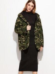 Camo Print Sherpa Hooded Coat