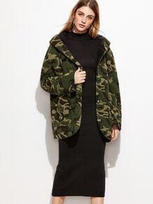 Camo Print Sherpa Hooded Coat