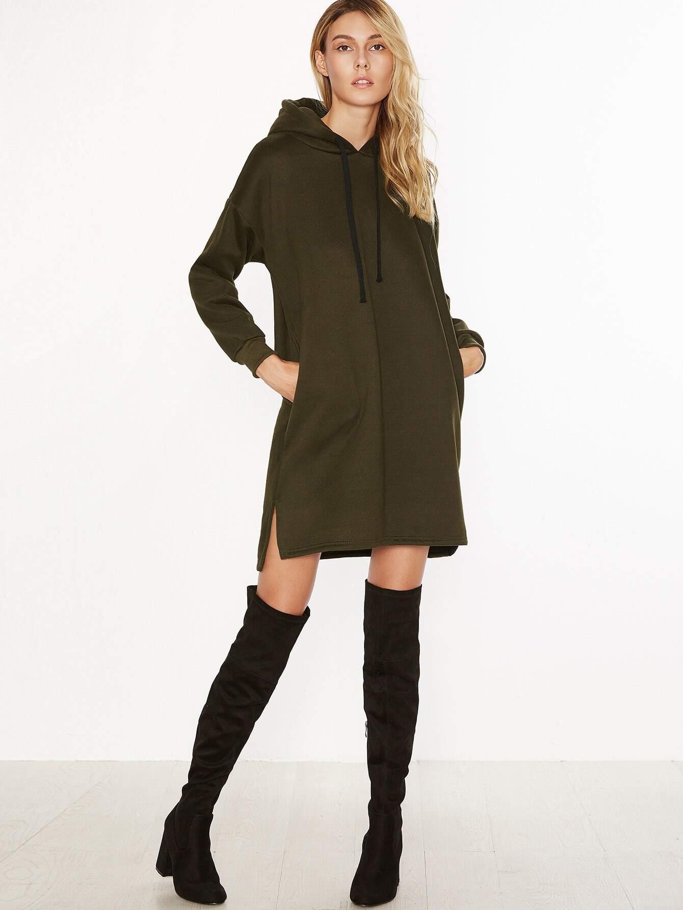 Army green split side drawstring hooded sweatshirt dress - Sweatshirt kleid lang ...