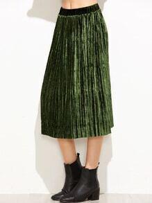 Falda plisada de velvet - verde
