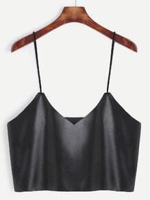 Black Faux Leather Crop Cami Top