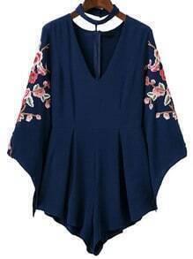 Gargantilla con bordado de flor - azul