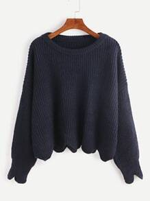 Navy Drop Shoulder Scallop Hem Sweater