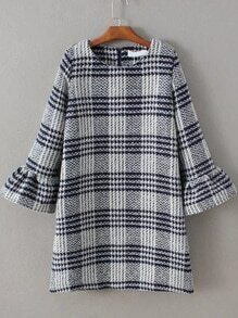 Navy Plaid Bell Sleeve Zipper Back Dress