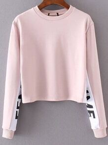 Sweat-shirt couleur bloc col rond - rose