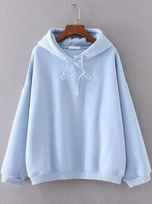 Blue Drop Shoulder Hooded Oversized Sweatshirt