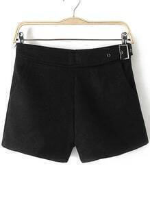 Black Side Zipper Shorts With Buckle