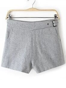 Grey Side Zipper Shorts With Buckle