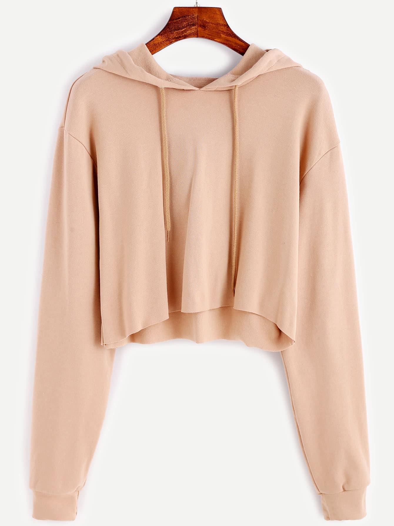 dbc9c21734f Apricot Drawstring Hooded Crop Sweatshirt