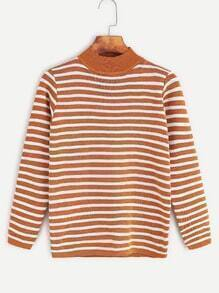 Brown Striped High Neck Sweater