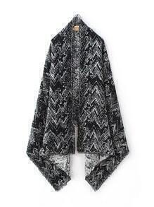 Black Wave Print Raw Edge Shawl Scarf