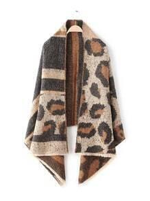 Brown Tone Leopard Print Eyelash Fringe Shawl Scarf