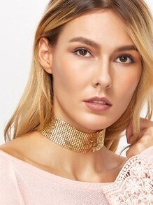 Gold Plated Sequin Wide Choker Necklace