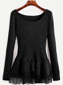 Black Contrast Chiffon Scoop Neck Sweater