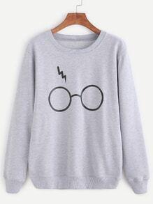 Pale Grey Glasses Print Sweatshirt