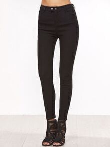 Black High Waist Skinny Pants With Button