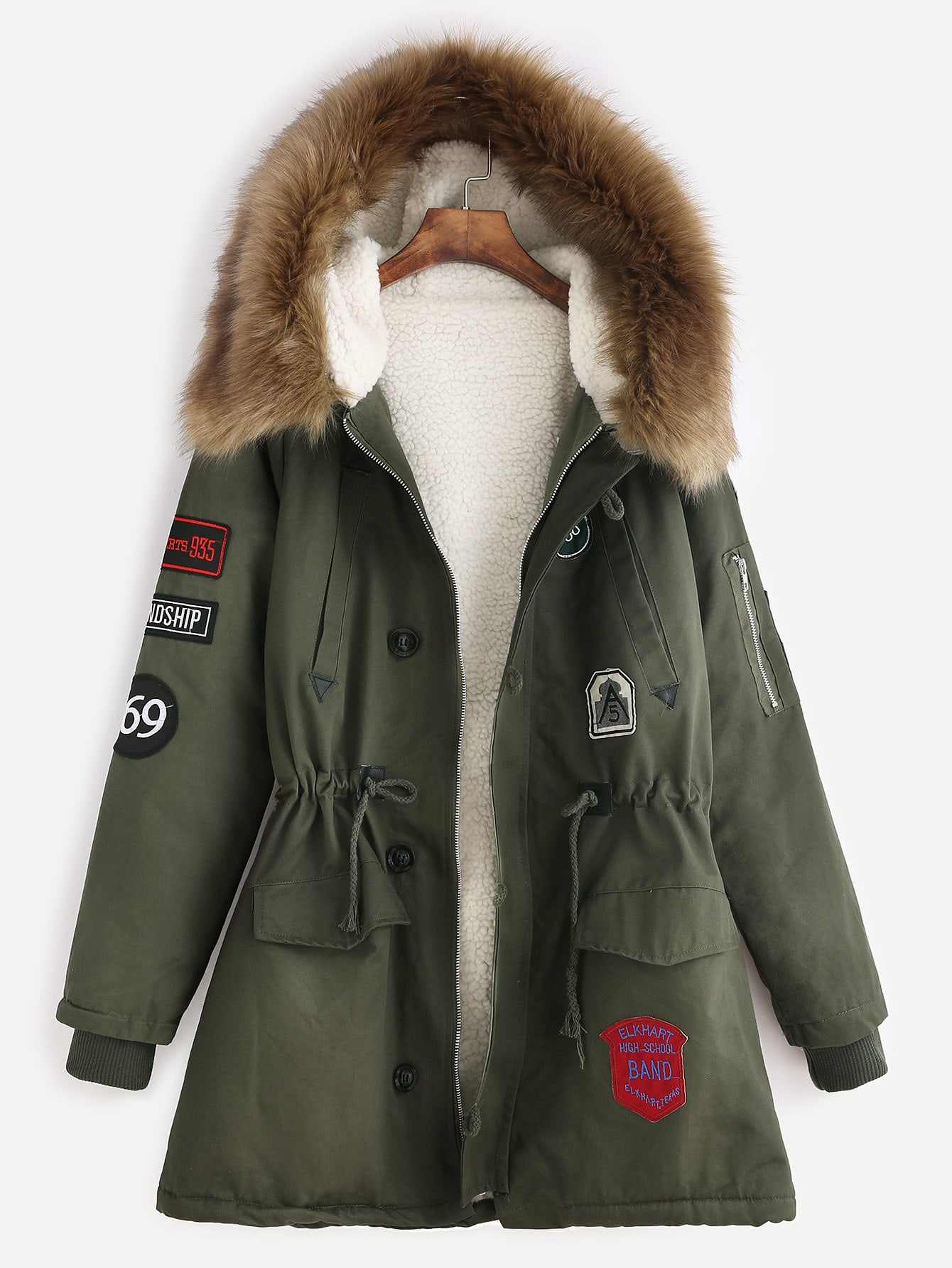 ec57135eefb Army Green Patches Drawstring Hooded Faux Fur Trim Parka