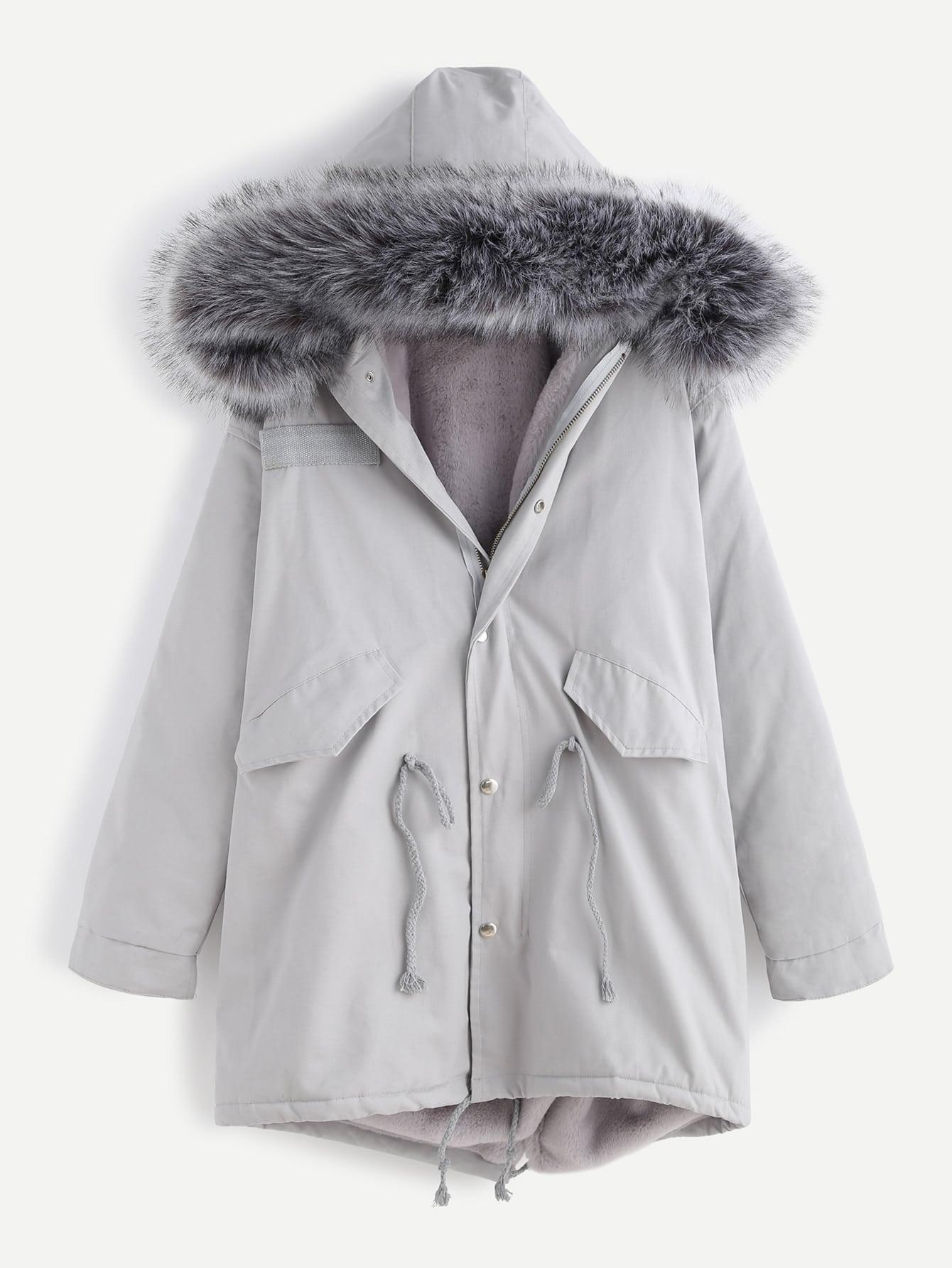 Gray And White Living Room Grey Faux Fur Trim Drawstring Fleece Inside Hooded Coatfor
