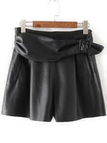 Black Side Zipper PU Shorts With Belt