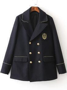 Navy Embroidery Detail Double Breasted Coat