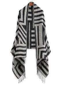 Black And Grey Stripe Fringe Edge Shawl Scarf