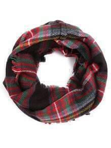 Red Tone Colored Plaid Eyelash Fringe Infinity Scarf
