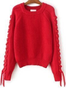 Red Lace Up Detail Raglan Sleeve Sweater