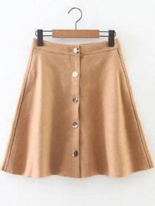 Khaki Button Up A Line Skirt