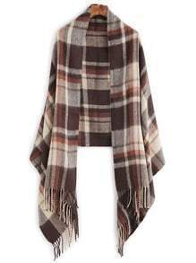 Brown Plaid Fringe Edge Shawl Scarf