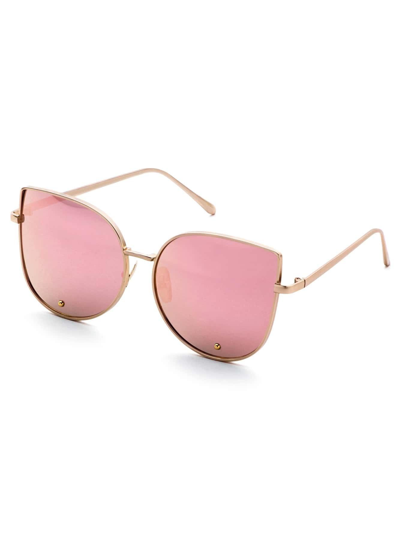 181c8b48f0 Gold Frame Pink Cat Eye Stylish SunglassesFor Women-romwe