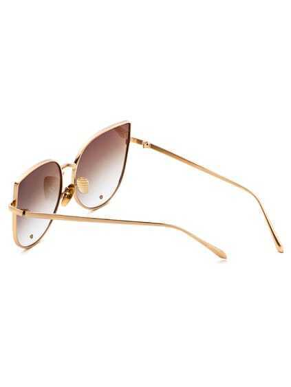 Gold Frame Brown Cat Eye Stylish Sunglasses