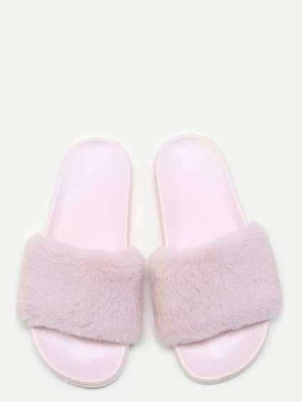 Pink Rabbit Hair Soft Sole Flat Slippers
