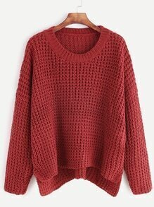 Burgundy Drop Shoulder Slit Side High Low Sweater