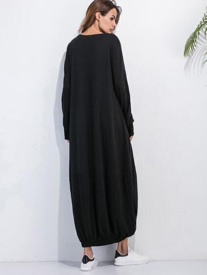 Black Elastic Hem Shift Dress