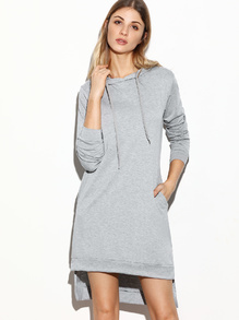 Grey Hooded Slit Side High Low Sweatshirt Dress