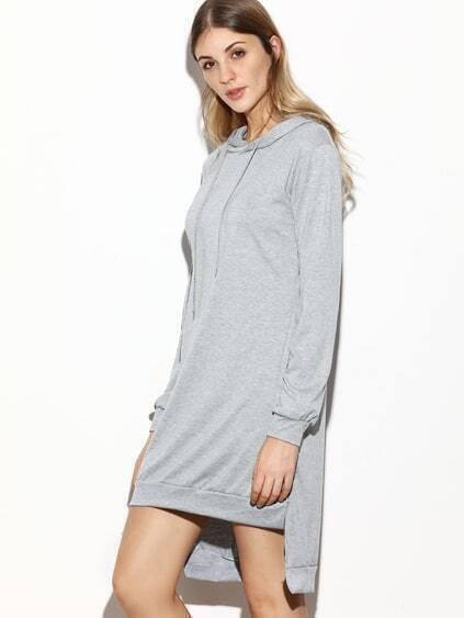 Grey Hooded Slit Side High Low Sweatshirt Dress