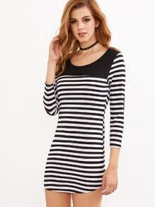 Contrast Striped Elbow Patch Curved Hem Tee Dress