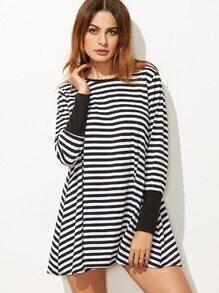 Contrast Striped Tee Dress