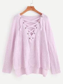 Pink Eyelet Lace Up High Low Sweater