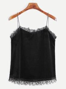 Black Velvet Eyelash Lace Trim Cami Top
