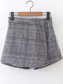 Plaid Button Up Side Zipper Shorts