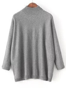 Grey Mock Neck Patch Detail Loose Sweater