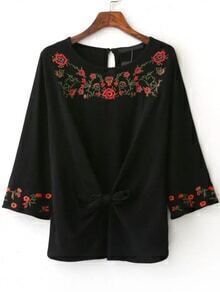 Black Floral Embroidery Knotted Blouse