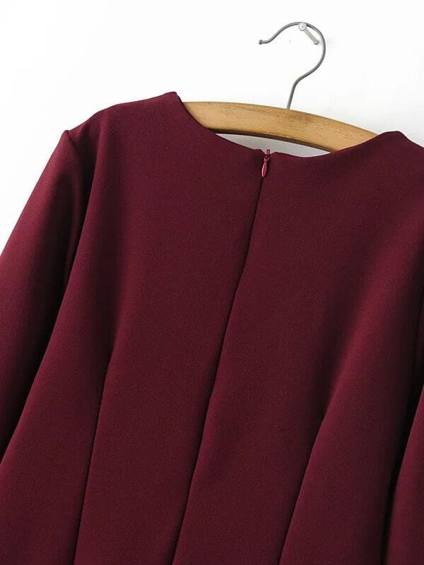robe dos en frange avec zip bordeaux french romwe. Black Bedroom Furniture Sets. Home Design Ideas