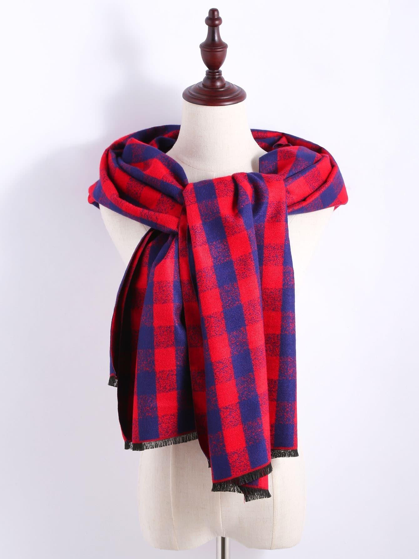 echarpe ch le en tartan avec frange rouge et bleu. Black Bedroom Furniture Sets. Home Design Ideas