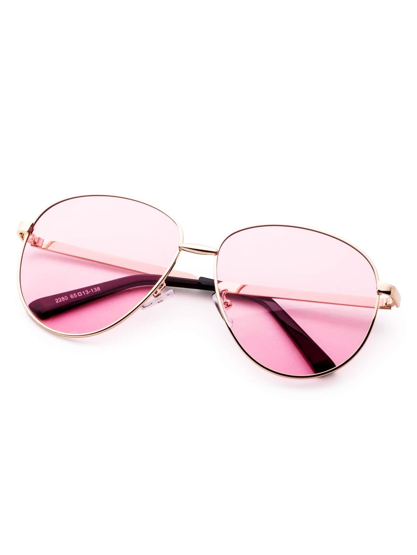 lunettes de soleil r tro verre rose monture en m tal romwe. Black Bedroom Furniture Sets. Home Design Ideas