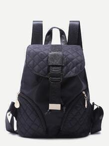 Black Buckled Strap Zip Front Quilted Nylon Backpack